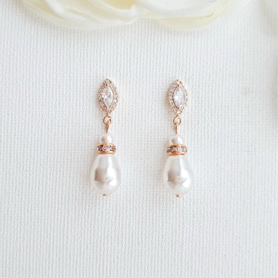 Teardrop Pearl Earrings for Weddings in Silver- Ella