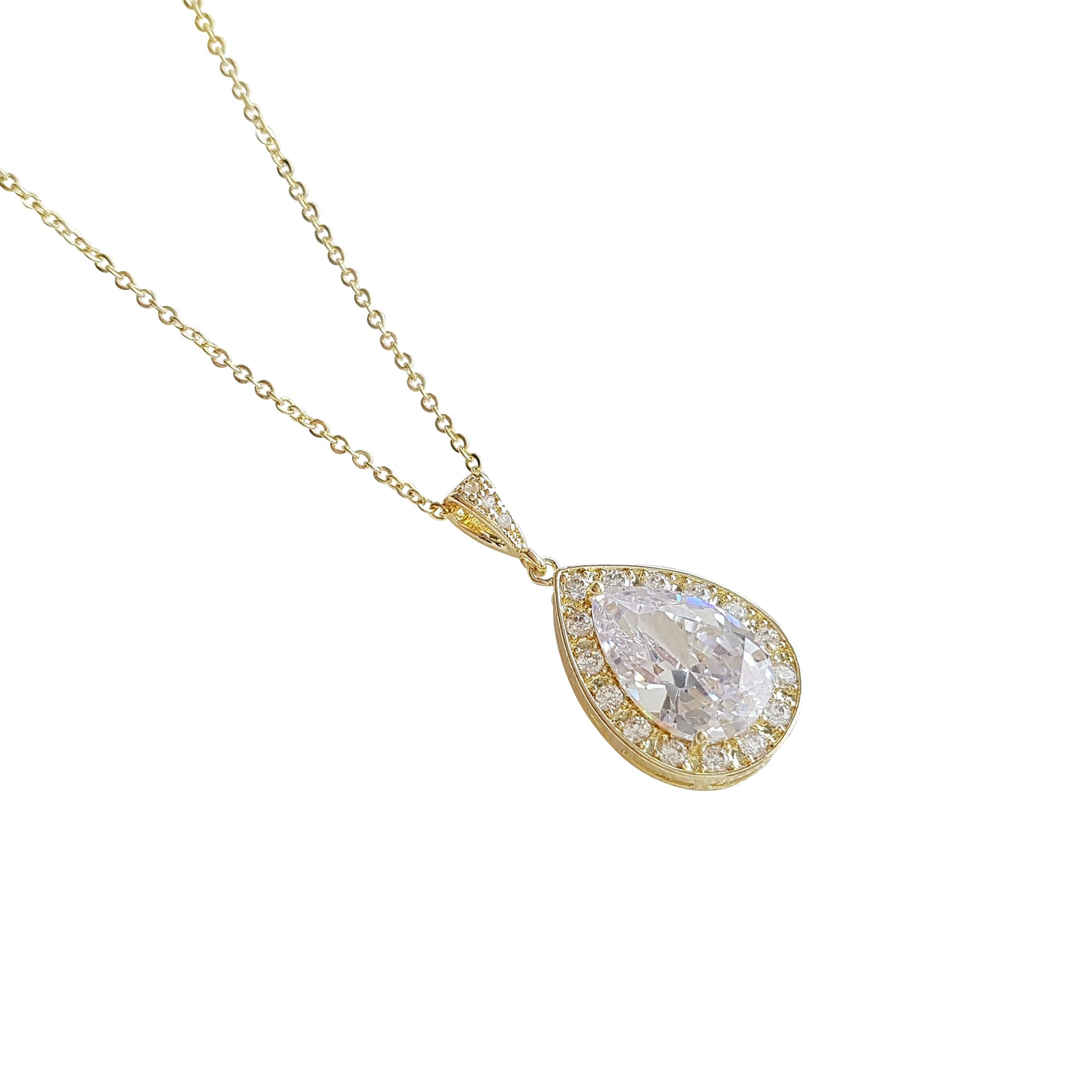 Teardrop Necklace in 14K Gold & Cubic Zirconia for Brides & Bridesmaids-Evelyn