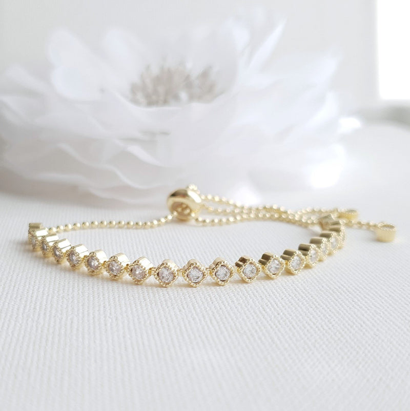 Rose Gold Sliding Bracelet for Brides-Celia
