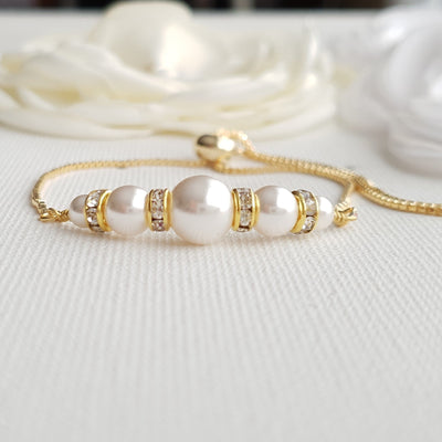 Pearl Bracelet Slider Bracelet in Gold