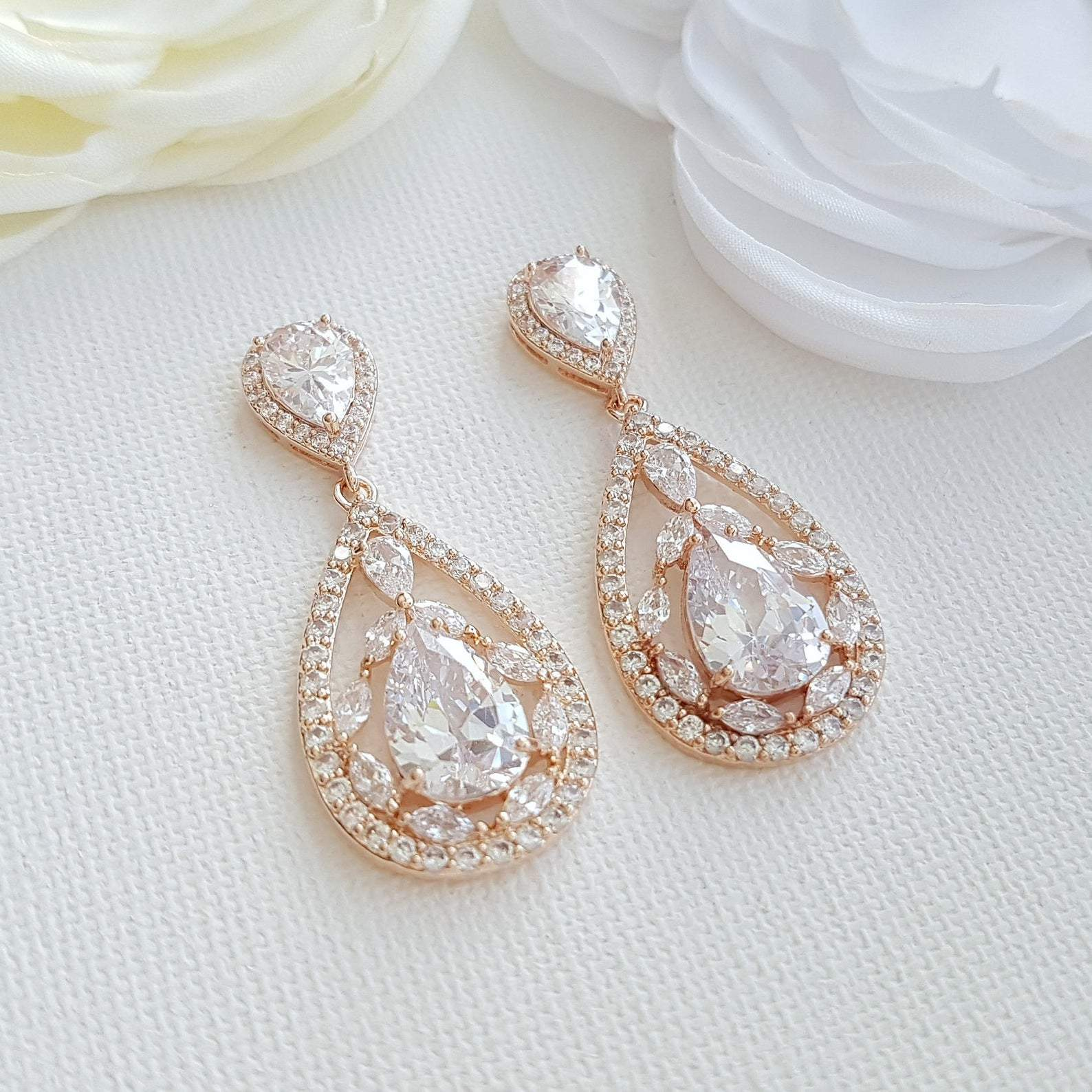 Rose gold Plated Drop Earrings for Brides-Esther