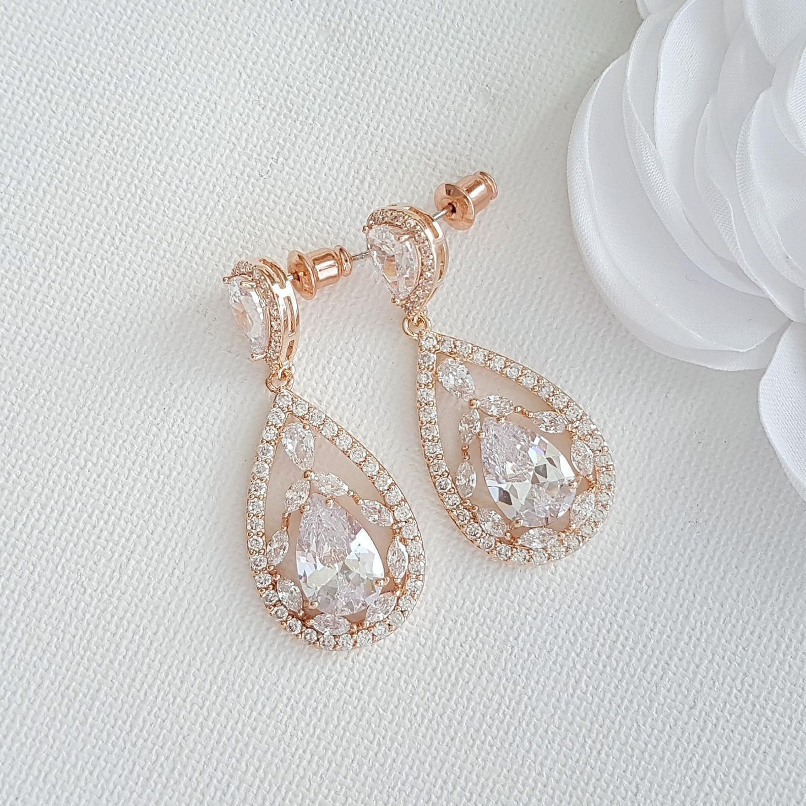 Rose gold Plated Drop Earrings for Brides-Esther - PoetryDesigns
