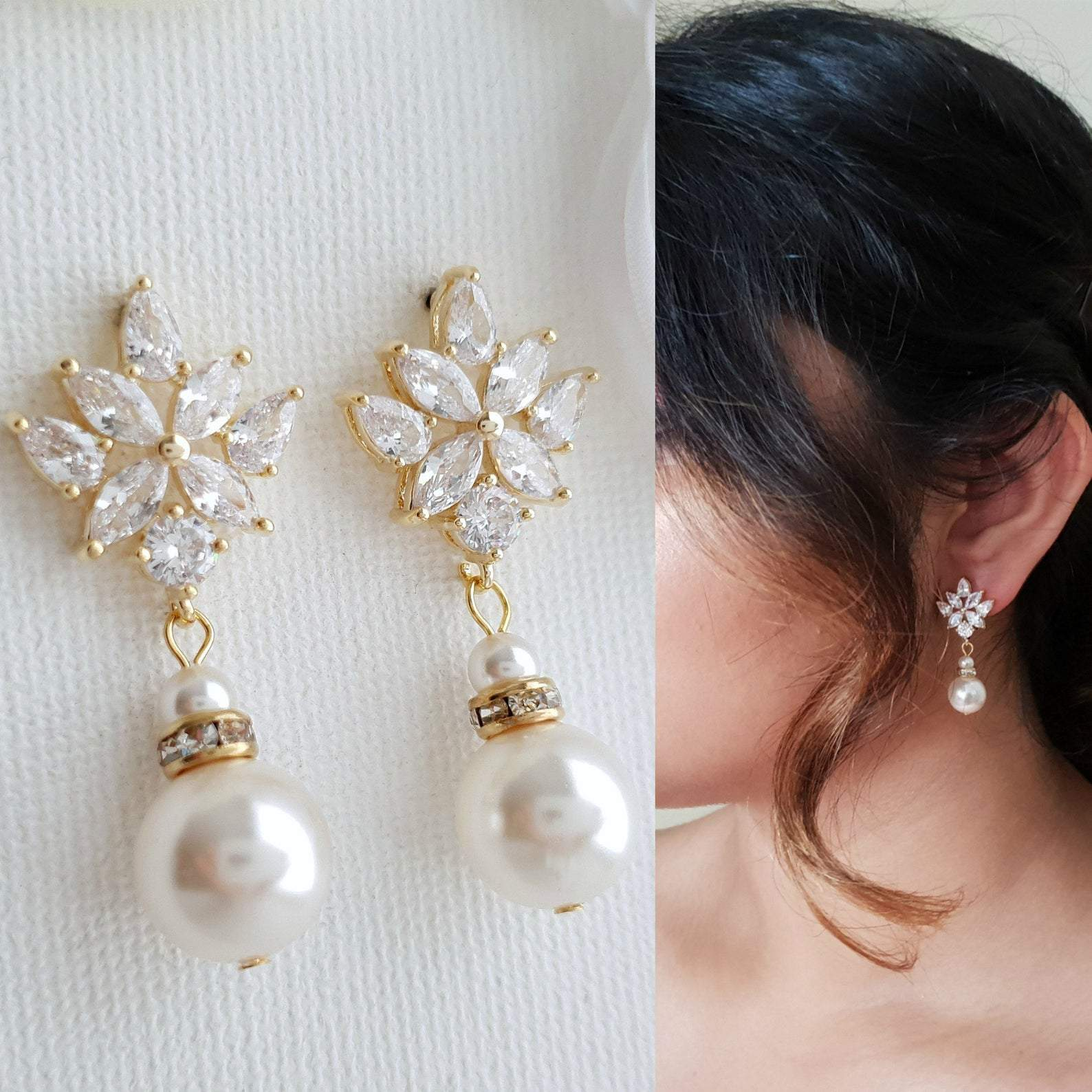 Bridal Drop Earrings Gold With Round Pearls- Rosa - PoetryDesigns
