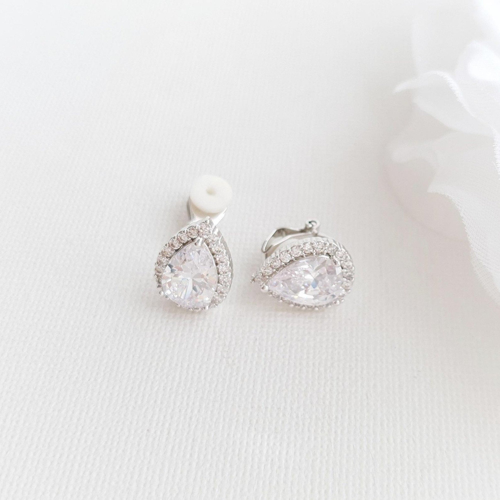 Clip On Bridal Stud Earrings for Weddings,Prom Bridesmaids- Poetry Designs