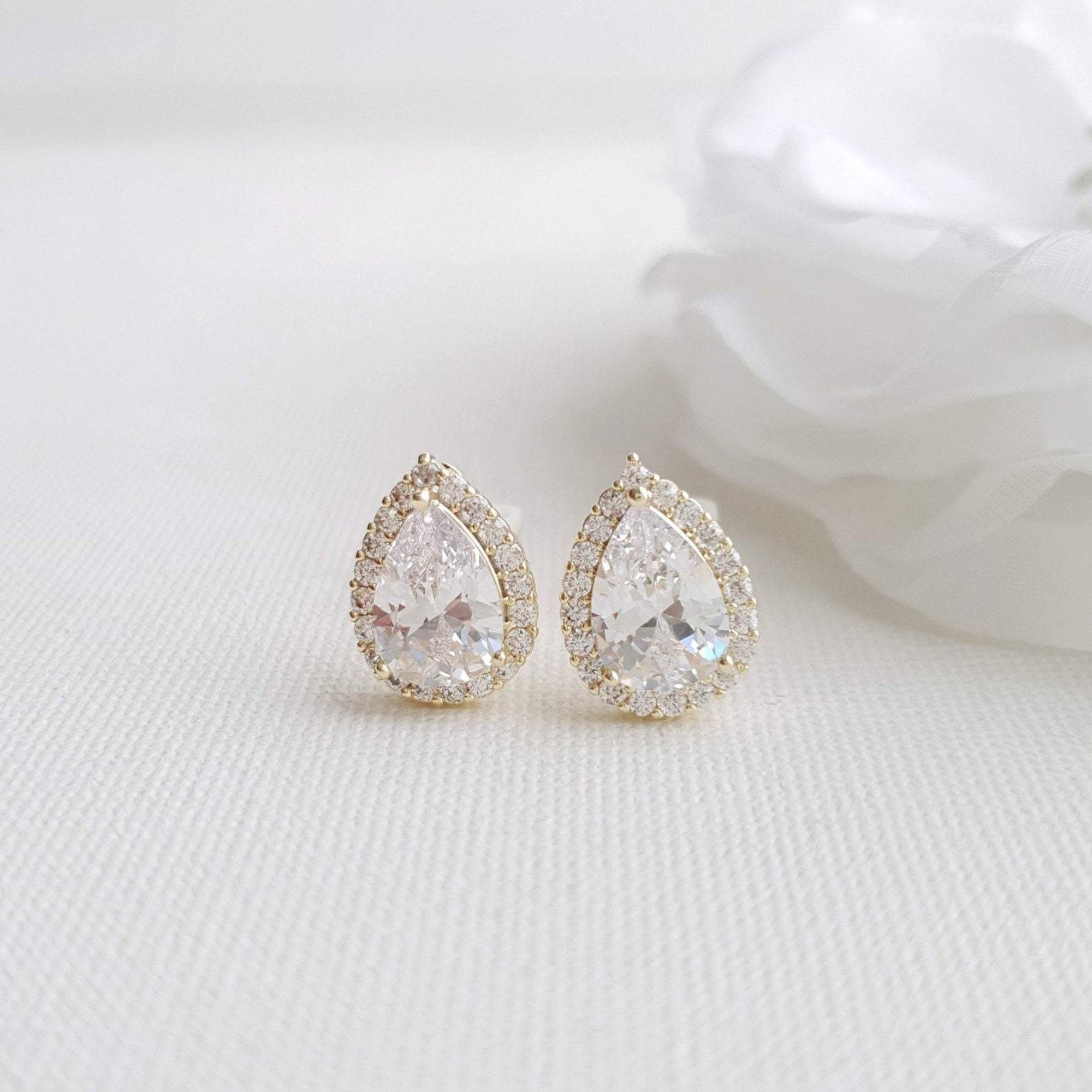14K gold Teardrop Shaped Clip On stud earrings for Brides and Weddings
