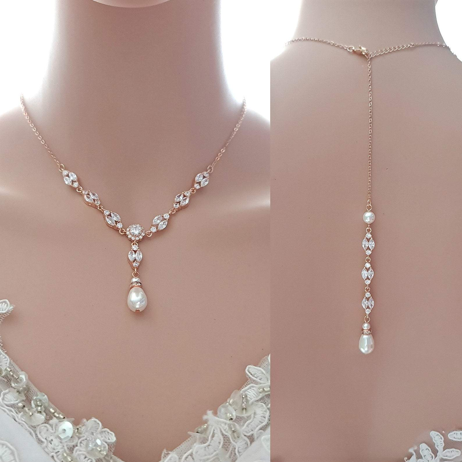 Necklace For Backless & Strapless Wedding Dress-Hayley - PoetryDesigns