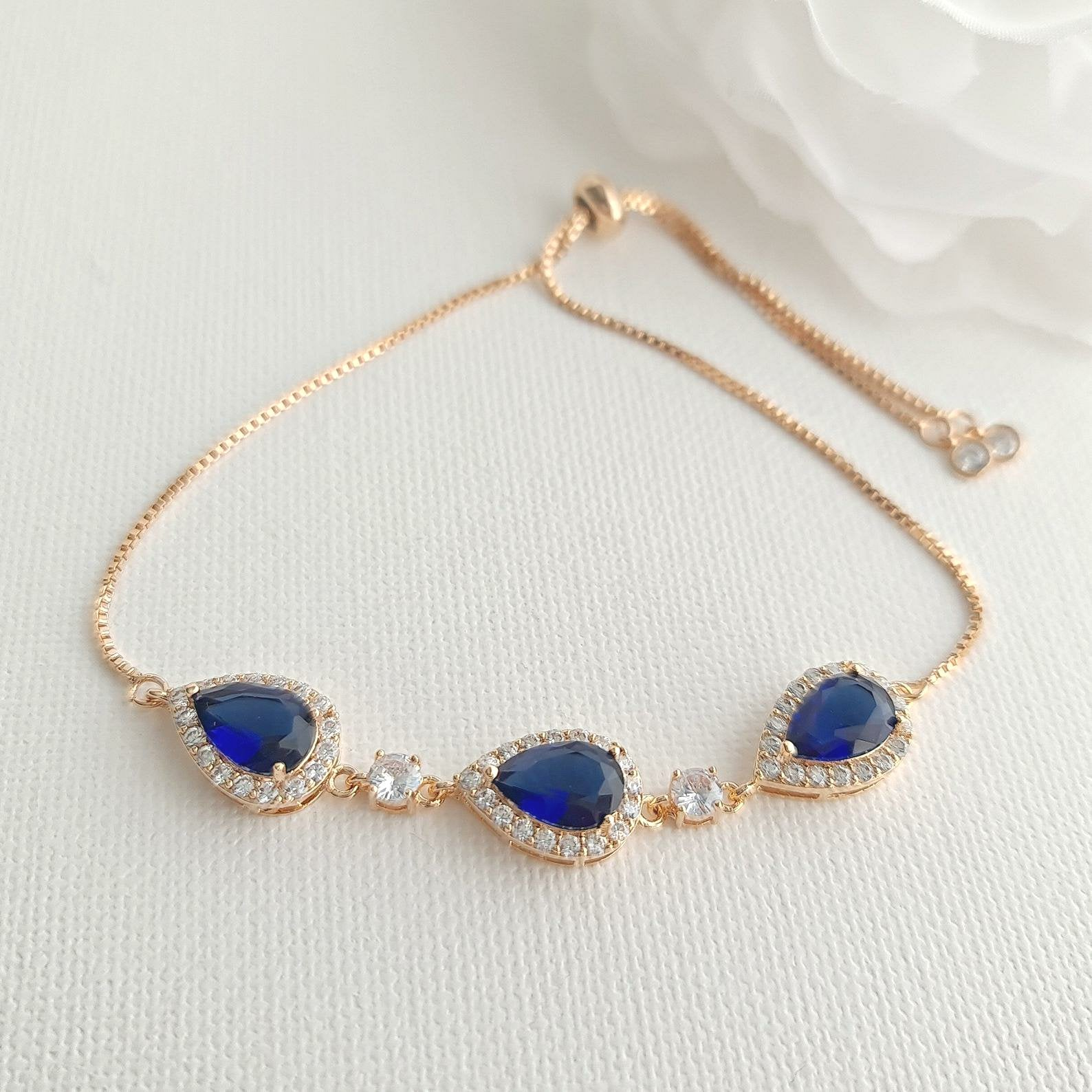 Bracelet in Sapphire Blue & Rose Gold for Bride & Bridesmaids-Aoi - PoetryDesigns
