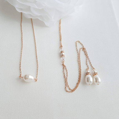 Simple Back Necklace in Rose Gold - June