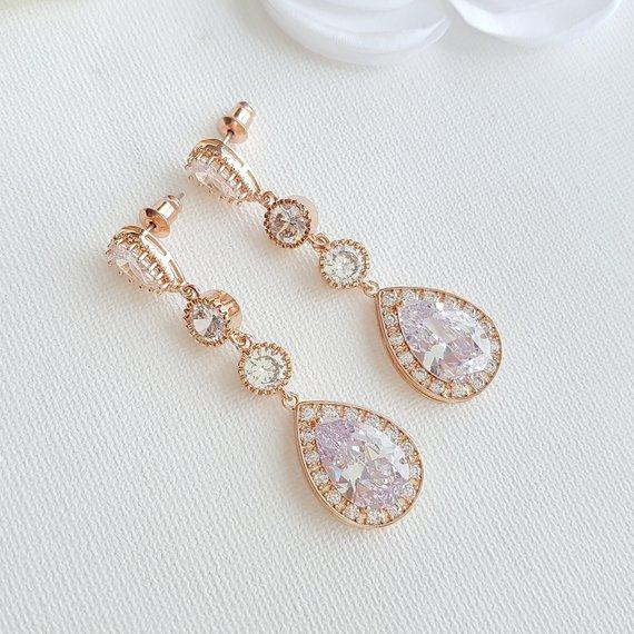 Rose Gold Long Earrings-Evana