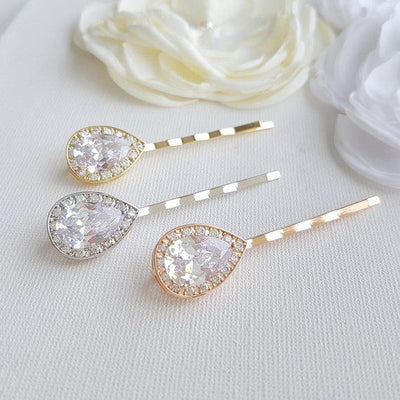 Wedding Hair Pins Silver- Evelyn
