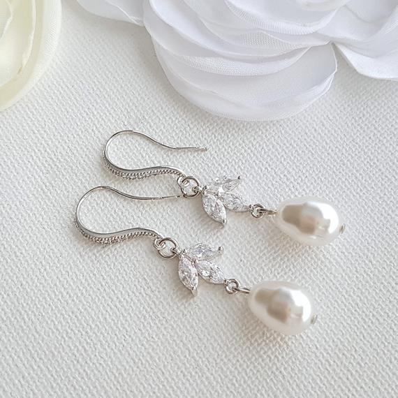 Pearl Dangle Earrings- Leila - PoetryDesigns