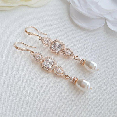 Gold Pearl Bridal Earrings- Gianna