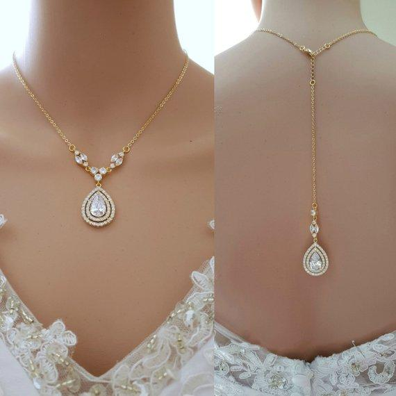 Gold Backdrop Necklace Weddings-Joni - PoetryDesigns