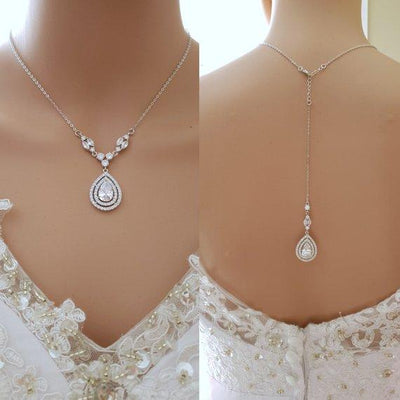 Silver Back Jewelry With CZ Backdrop- Joni