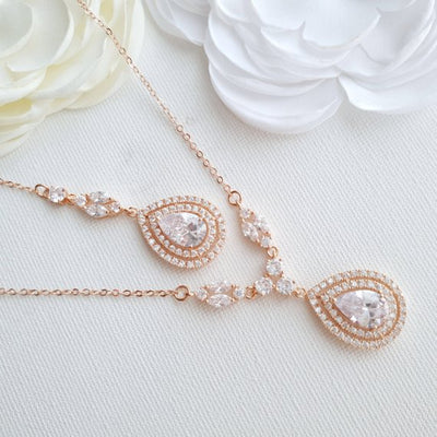 Rose gold Bridal Back Necklace -Joni