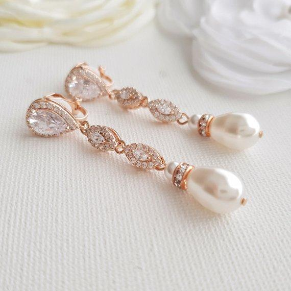 Wedding Clip On Earrings in Rose Gold-Abby - PoetryDesigns