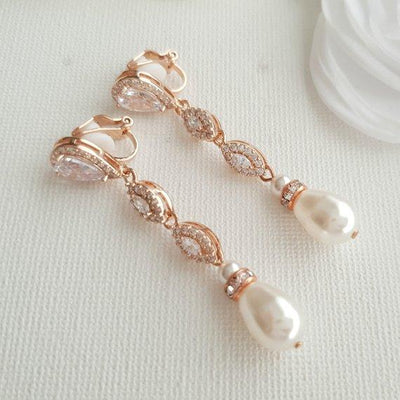 Wedding Clip On Earrings in Rose Gold-Abby