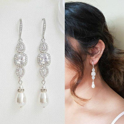 Pearl Drop Long Dangle Earrings for Weddings-Gianna
