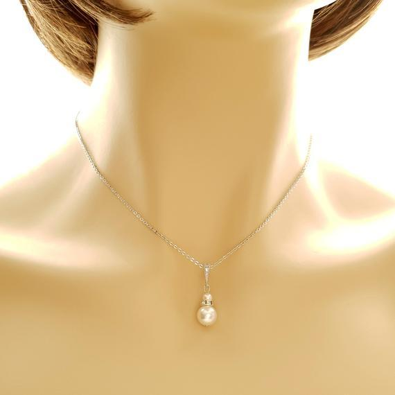 Silver Bridesmaid Pearl Necklace- Ava - PoetryDesigns