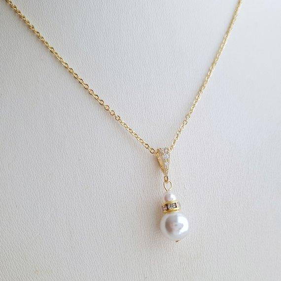 Gold Necklace with Single Pearl- Ava - PoetryDesigns