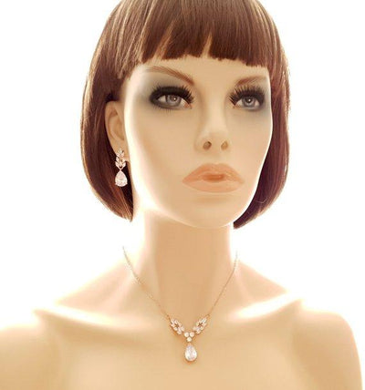 Gold Leaf Necklace & Earrings Set-Willow