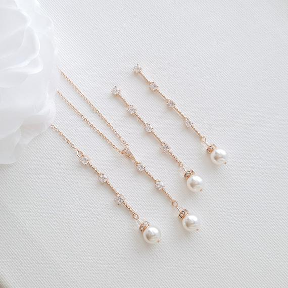 Pearl Drop Necklace Earring Jewelry Set for Weddings- Ginger