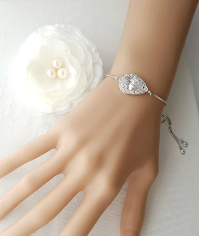 Simple Silver Bridesmaid Bracelet in Cubic Zirconia- Evelyn