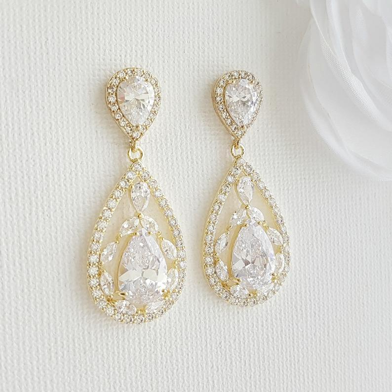 Gold Plated Drop Earrings for Wedding-Esther - PoetryDesigns