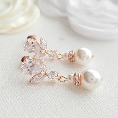 Bridal Earrings in Rose Gold and Pearl Drops-Nicole