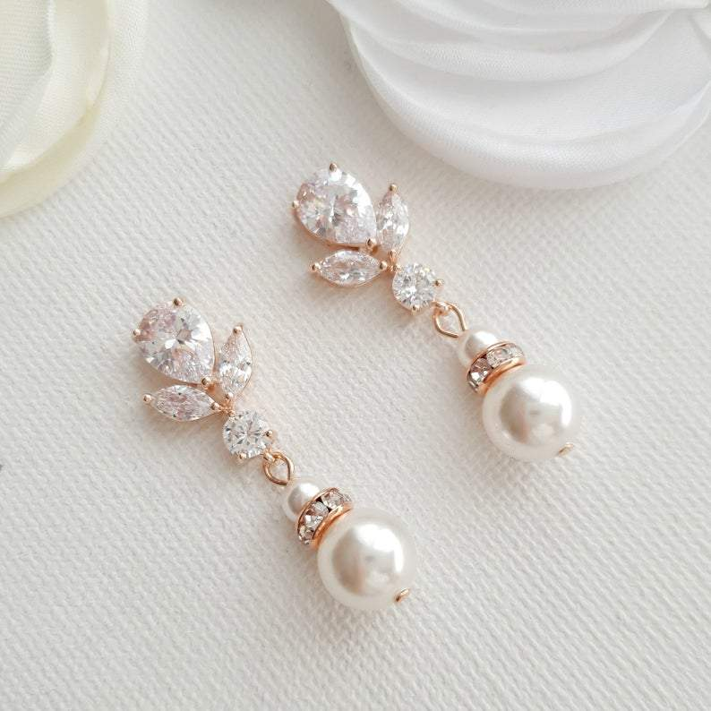 Bridal Earrings in Rose Gold and Pearl Drops-Nicole - PoetryDesigns
