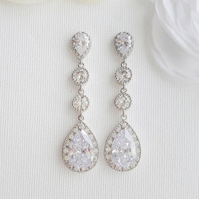 Long Bride Earrings Silver- Evana