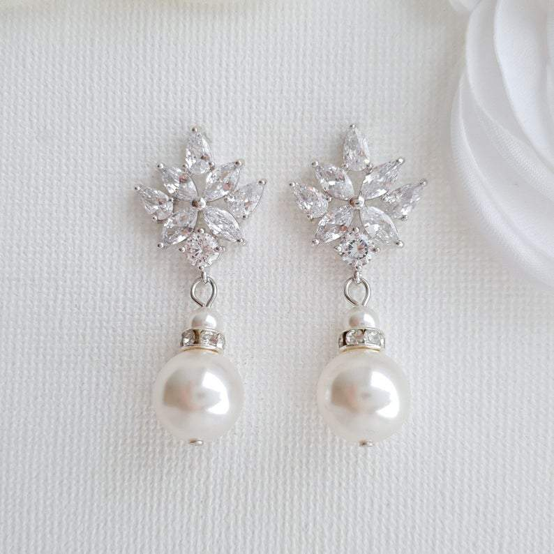Bridal Earrings with Round Pearl Drops in Silver- Rosa - PoetryDesigns