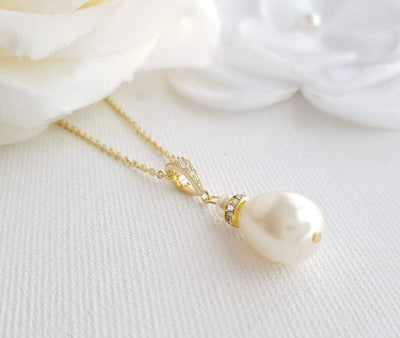gold teardrop necklace for brides and bridesmaids- Poetry Designs