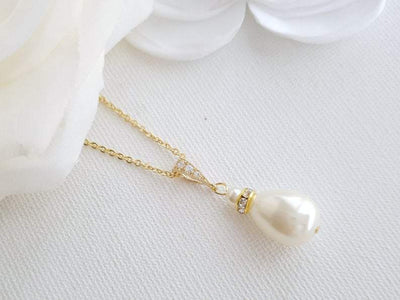 Necklace Pendant with Teardrop Pearl Necklace for Brides- Poetry Designs