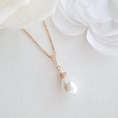 Rose gold teardrop wedding necklace- Poetry Designs