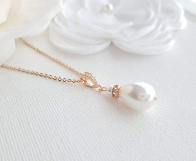 Rose gold pearl teardrop necklace- Poetry Designs