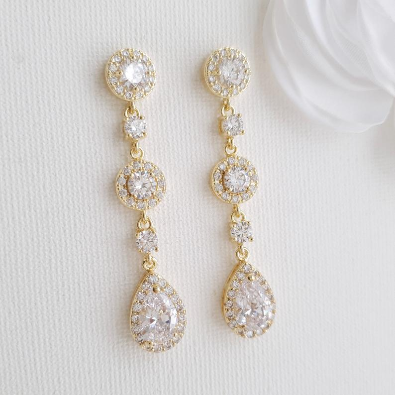 14K Yellow Gold Drop Earrings for Weddings-Reagan