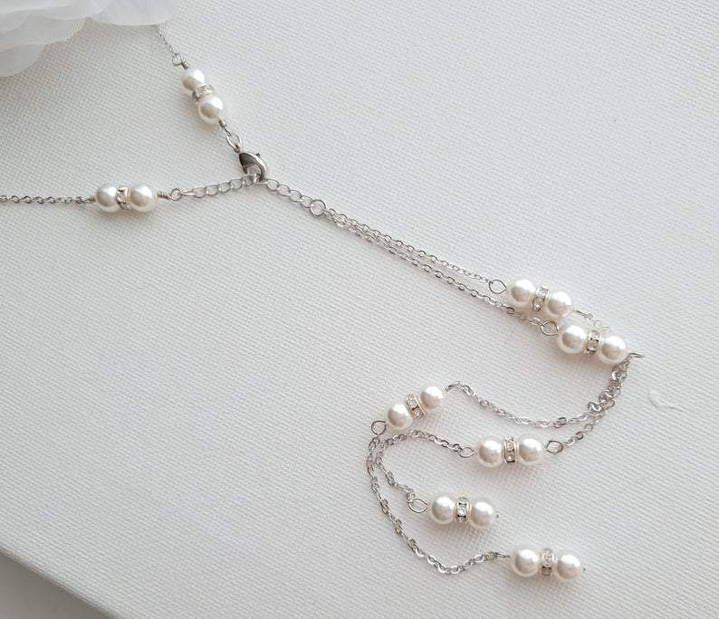 Pearl Backdrop Wedding Necklace- Poetry Designs