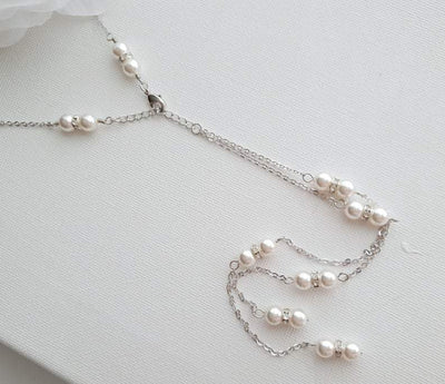 Pearl Backdrop Bridal Necklace In Gold- AVA