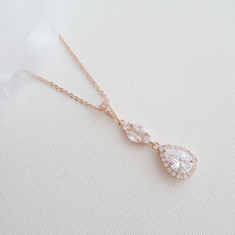 14K Gold Drop Pendant Necklace (1.5 Inches) for Brides & Bridesmaids Gift-Hayley - PoetryDesigns