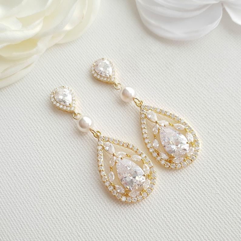 Gold Cubic Zirconia Earrings-Esther - PoetryDesigns