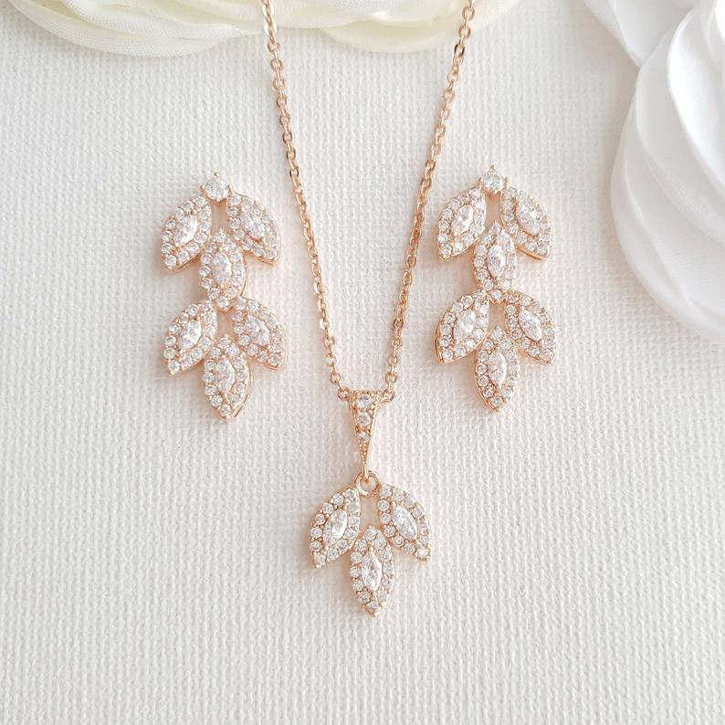 Rose Gold Bridal Jewelry Set-Abby - PoetryDesigns