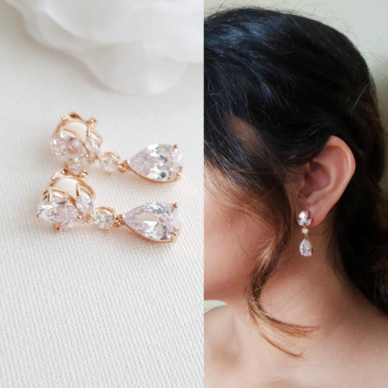 Clip on Drop Earrings Rose Gold-Nicole - PoetryDesigns