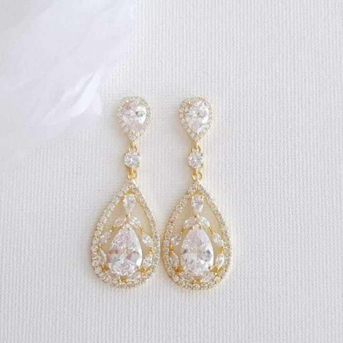 Yellow Gold Bridal Earrings in Cubic Zirconia for Brides-Esther