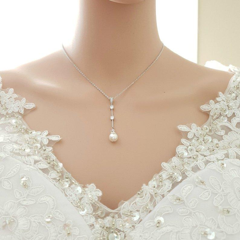 Simple Drop Back Bridal Necklace Silver- Ginger - PoetryDesigns