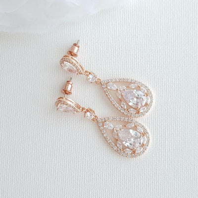 Rose Gold & CZ Statement Bridal Earrings