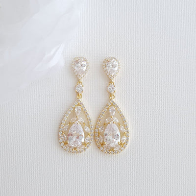 Rose Gold Statement Earrings for Wedding-Esther