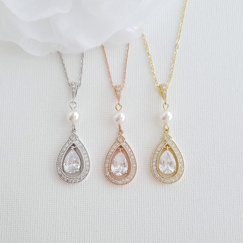 Gold Bridal Pendant Necklace Made of Teardrop Cubic Zirconia- Sarah - PoetryDesigns