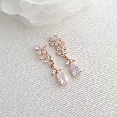 Rose Gold Flower Earrings for Weddings- Daisy