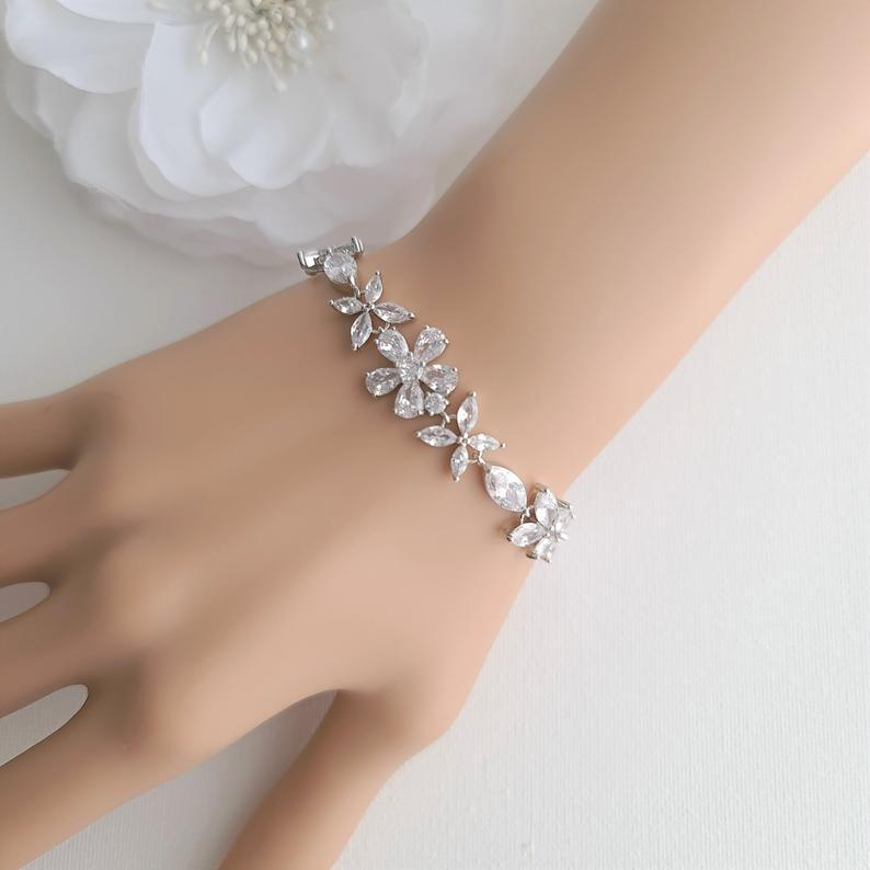 Cubic Zirconia Wedding Flower Bracelet for Brides- Daisy - PoetryDesigns